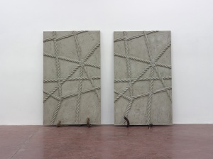 Mircea Cantor, Supposing I could hear that sound. Now, 2015, concrete, 2 shofars, concrete walls 200x123x6 cm -4