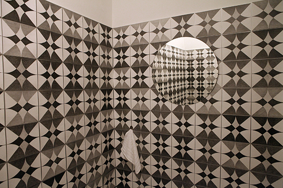 Host, pencil on paper, (300 tiles), mirror, towl, variable measures, 2015 (2)