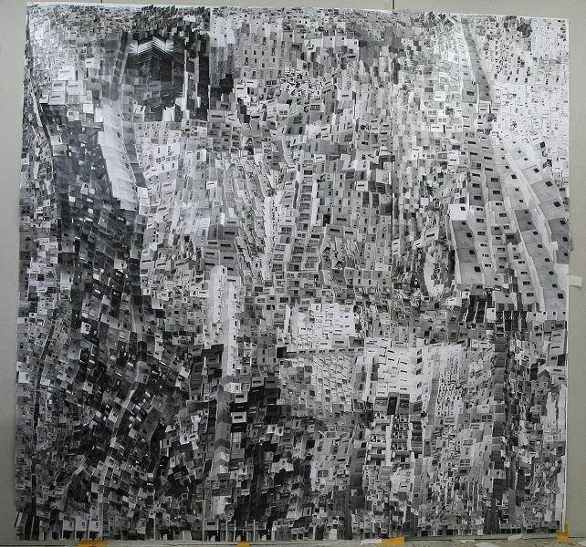 """Shaar Aliya"", Haifa City End's (After Paul Klee) Silver Gelatine Prints Collage 220x220cm 2014"