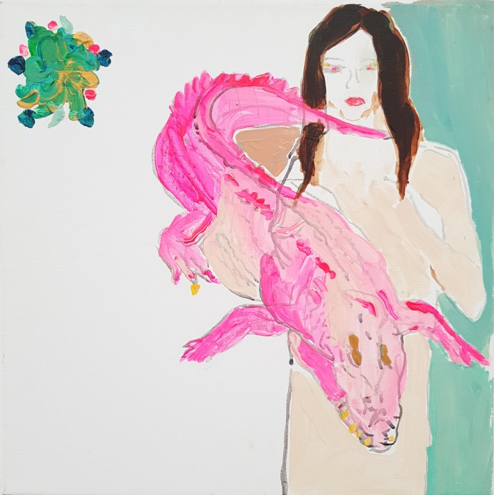 1557_Alona Harpaz, Crocodile Rosa ,2018,acrylic and spary on canvas, 30 x 30 cm