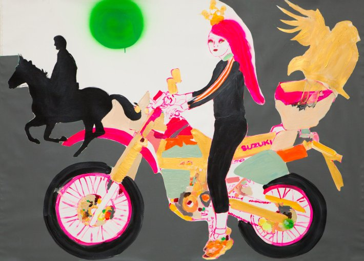 1561_Alona Harpaz, Suzuki, 2014, Acrylic, spray and industrial paint on canvas, 140x172 cm $6,000